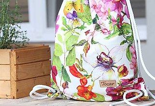 Batohy - Vak uťahovací - farebné kvety - 9622960_