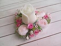 """Dekorácie - Kvetinový aranžmán a svietnik v tvare srdca  """"... srdiečko pre Teba..."""" - 9620809_"""