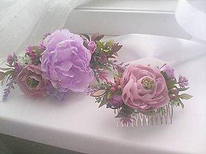 Ozdoby do vlasov - Kvetinový set opasok a hrebienok