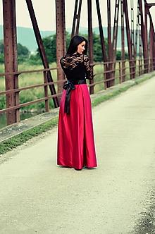 Sukne - MAXI saténová sukňa s mašľou - 9622117_