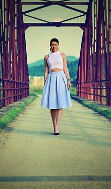 Sukne - MIDI skladaná sukňa na bežné nosenie  (obvod pásu do 80cm) - 9622286_