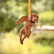 Dekorácie - Maďarská vyžla - figúrka psa podľa fotografie (anjel) - 9622439_
