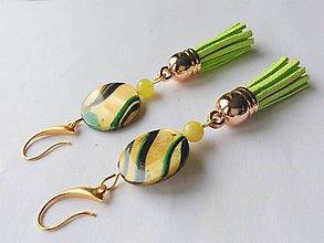 Náušnice - perleť náušnice so strapcami - 9620374_