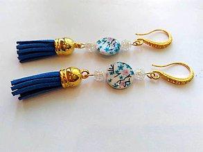 Náušnice - Perleť - náušnice so strapcami - 9620377_