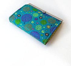 Peňaženky - Peňaženka s priehradkami Zhluk bodiek - tyrkysová - 9621050_