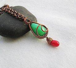 Náhrdelníky - jadeit a koral - 9622491_