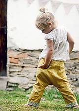 Detské oblečenie - Lněné kapsičkové okrově žluté - 9622678_