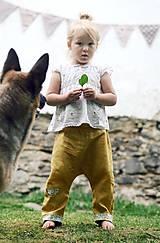 Detské oblečenie - Lněné kapsičkové okrově žluté - 9622684_
