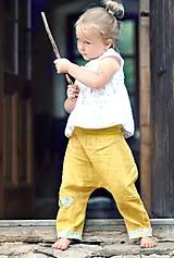Detské oblečenie - Lněné kapsičkové okrově žluté - 9622693_