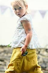 Detské oblečenie - Lněné kapsičkové okrově žluté - 9622694_