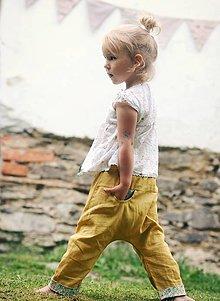 Detské oblečenie - Lněné kapsičkové okrově žluté - 9622691_