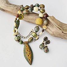 Sady šperkov - Náhrdelník a náušnice Afro green - 9620750_