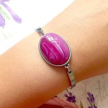 Náramky - Stainless Steel Pink Agate Bracelet / Elegantný náramok s ružovým achátom z nerezovej ocele - 9624098_