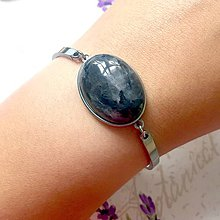 Náramky - Stainless Steel Larvikite Bracelet / Elegantný náramok s larvikitom z nerezovej ocele - 9624153_
