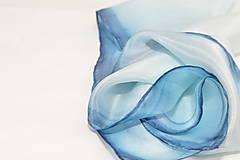 Šatky - Malá modrá hodvábna šatka. - 9626170_