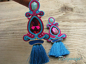 Náušnice - Tassels collection...soutache (Fuchsia/Turquoise) - 9624515_