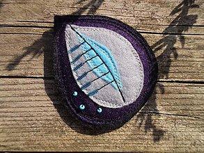 Odznaky/Brošne - Brošňa - lístok (fialovo-sivo-modrá) - 9624914_