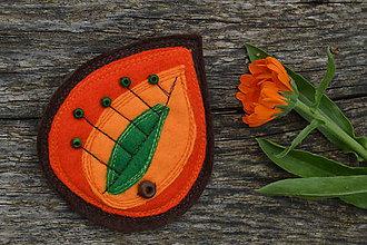 Odznaky/Brošne - Brošňa - lístok (oranžovo-žlto-zelená) - 9624920_