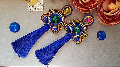 Náušnice - Loja - štebotavé náušnice (Modrá) - 9624122_
