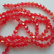 Korálky - CrystaLine Beads™/bicone 3mm-1ks (red AB) - 9626251_