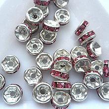 Korálky - Šaton.rondelka-1ks (6mm-strieb/ružová) - 9626483_