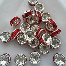 Korálky - Šaton.rondelka-1ks (6mm-strieb/červená) - 9626484_