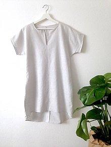 Šaty - Ľanové šaty svetlo sivé - 9623728_