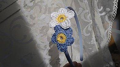 Ozdoby do vlasov - Kvety modrasté ... čelenka - 9625708_