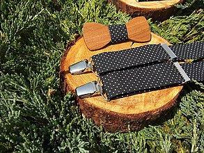 Detské doplnky - Detský set - drevený motýlik a traky - 9623604_