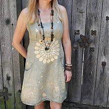 Šaty - Ľanové batikované šaty Mandala - 9625986_