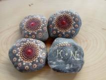Drobnosti - Medená mandalka s venovaním - Na kameni maľované - 9625866_