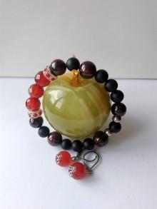 Sady šperkov - Karneol sada náramok a náušnice oceľ - 9625481_