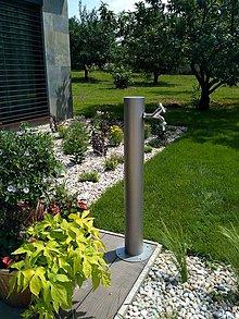 Nezaradené - Nerezový záhradný vodovodný stĺpik - Kruh - 9624634_