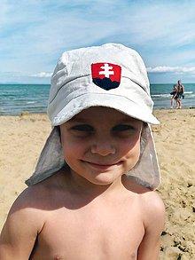 Detské čiapky - Šiltovka s plachtičkou 100% ľan & Slovensko - 9624430_