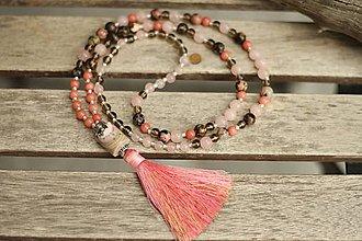 Náhrdelníky - Japa Mala náhrdelník z minerálov ruženín, rodonit, záhneda, jadeit - 9625559_