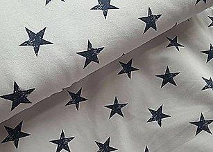 Textil - teplákovina tmavomodré hviezdy - 9624941_
