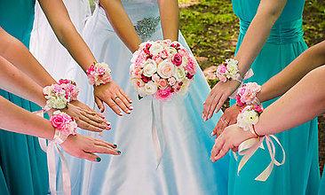 Kytice pre nevestu - svadobná sada:...kytica+náramky pink - 9624092_