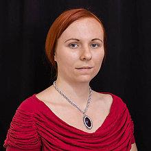 Náhrdelníky - Dáma v červené - náhrdelník - 9629068_