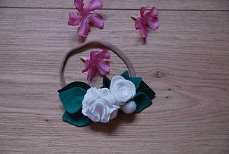 Detské doplnky - Dievčenská čelenka - biele kvety - 9629779_