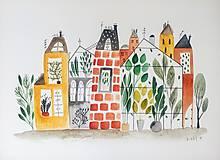 Obrazy - Mesto 41 ilustrácia / originál maľba - 9627884_