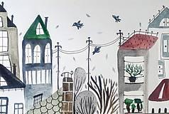 Papiernictvo - Mesto pohľadnica ilustrácia / originál maľba  - 9627907_