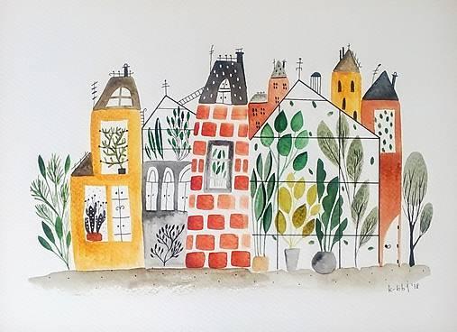 Mesto 41 ilustrácia / originál maľba