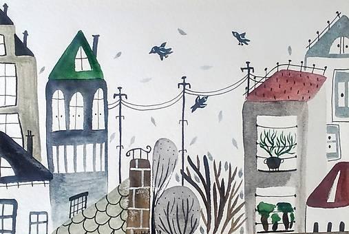 Mesto pohľadnica ilustrácia / originál maľba