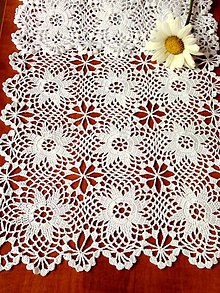 Úžitkový textil - Háčkovaná štola s hviezdičkami. - 9626737_