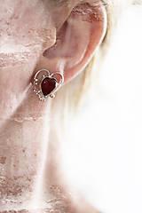 Náušnice - Strieborné ligotavé náušnice s achátom - Bokeh Heart - 9626925_