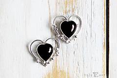 Náušnice - Strieborné ligotavé náušnice s achátom - Bokeh Heart - 9626927_