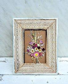 Dekorácie - Rámik so sušenými kvetmi - 9628839_