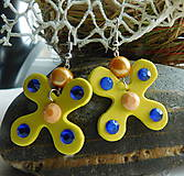 Náušnice - motýliky v žltej - 9627182_