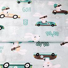 Textil - zajkovia na formuli, 100 % bavlna Poľsko, šírka 160 cm, cena za 0,5 m - 9628251_