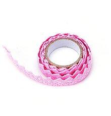 Galantéria - Samolepiaca bavlnená čipka -balenie 1 m-ružová - 9627376_
